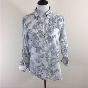 Eden Olivia Anthropologie Black White Floral Shirt